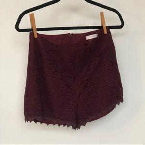 NEVER WORN Maroon Lace High Waist Shorts, Lush